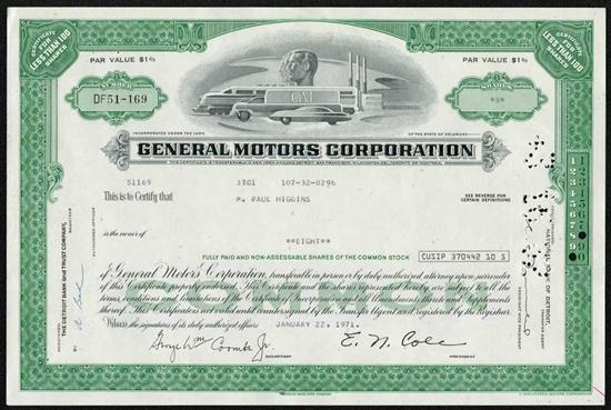 General Motors Corporation Stock Certificate