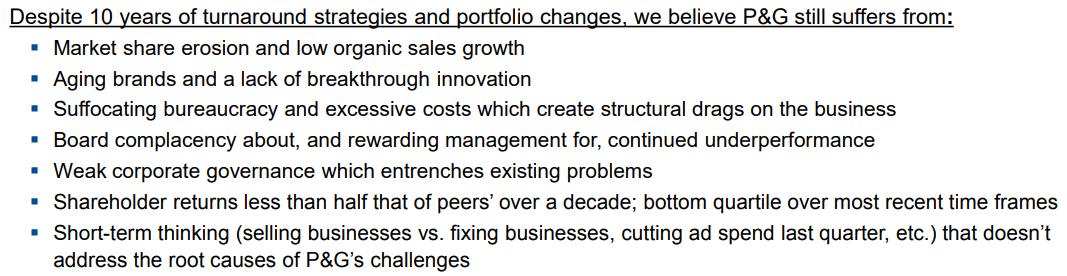 Per Peltz, Procter&Gamble deve cambiare per affrontare le nuove sfide che avanzano nel settore dei CPG