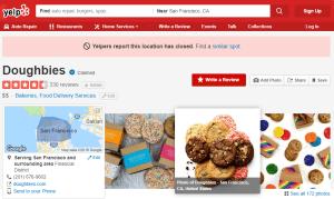 La pagina Yelp della startup Doughbies