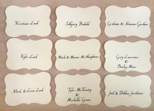 bumble B design - Italic calligraphy - wedding escort cards - Seattle, WA