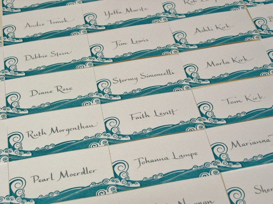 Tiva calligraphy on place cards, grey ink
