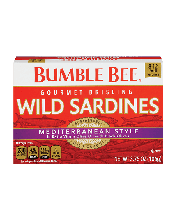Bumble Bee® Gourmet Brisling Wild Sardines Mediterranean Style in Extra Virgin Olive with Black Olives