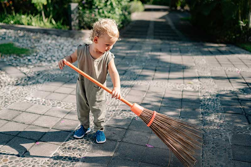 sweeping up after junk removal San Fernando Valley