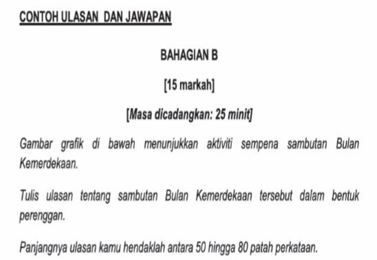Contoh Jawapan Bahasa Melayu Penulisan UPSR: Bahagian B