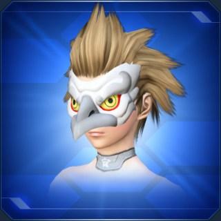 白カラステングの面White Crow Tengu Mask
