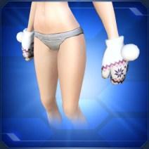 ホワイトポンポン手袋 White Pompom Mittens