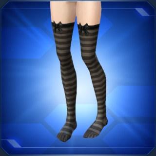 リボン付き縞ニーソックス Striped Ribbon Knee Socks