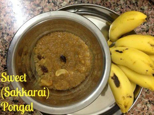 sweet pongal or sakkarai pongal
