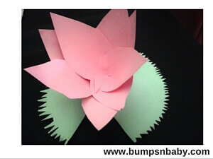 Republic day diy craft paper lotus flower step by step tutorial glue the flower to the leaf the flower is ready and this beautiful paper craft can be used to decorate your home mightylinksfo