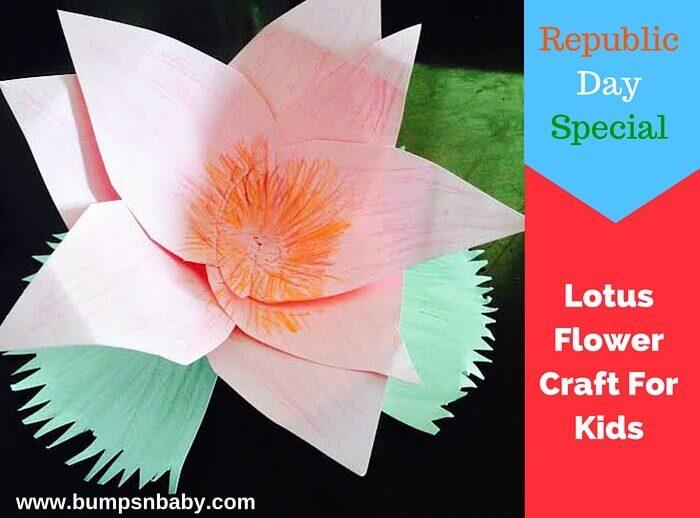 Republic Day DIY Craft Paper Lotus Flower (Step by Step Tutorial)