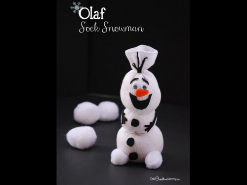 Christmas crafts for kids olaf sock snowman