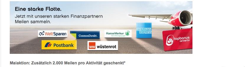 air berlin airberlin hansemerkur 2000 meilen sammeln topbonus