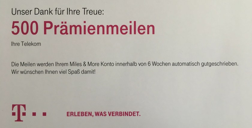 miles and More deutsche Telekom Kooperation Zusammenarbeit