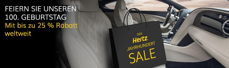 Hertz Jahrhundert Sale: Bis zu 25 % Rabatt weltweit autovermietung auto vermietung