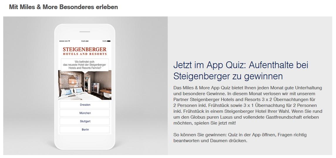 6 Aufenthalte in Steigenberger Hotels gewinnen – Miles and More App Quiz