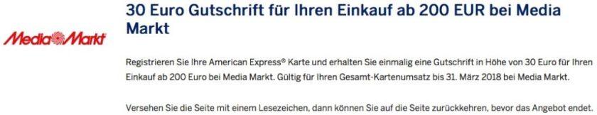 AmEx: 30 Euro Gutschrift bei Media Markt american express