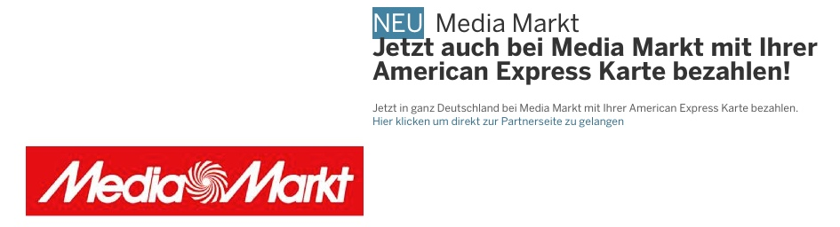 AmEx: 30 Euro Gutschrift bei Media Markt Einkäufen