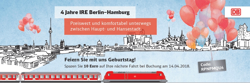 db deutsche bahn IRE Geburtstag: Rabatt-Aktion (IRE Berlin-Hamburg) bahn.de promo interregio express