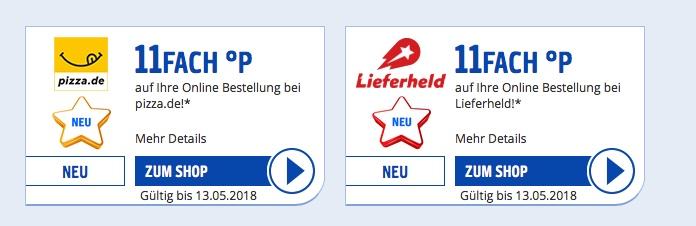 Payback-Partner: Lieferheld und pizza.de