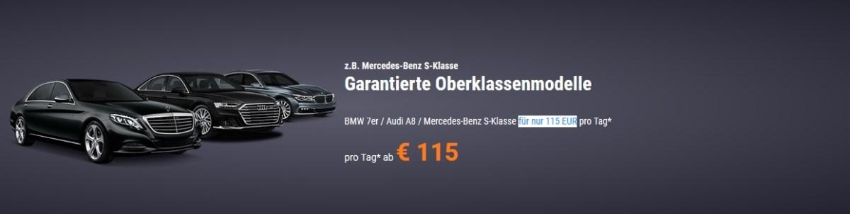 Sixt: Garantierte Oberklasse zum Sparpreis mietwagen auto audi a8 bmw 7er mercedes benz s-klasse luxus