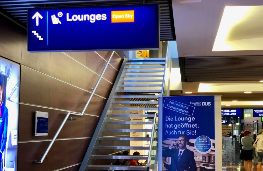 open sky lounge dus düsseldorf airport flughafen flugsteig c priority pass amex contract lounge bewertung review