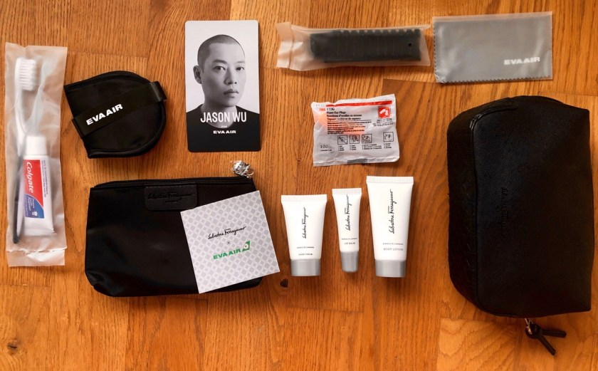 eva air royal laurel class business class amenity kit ferragamo jason wu pyjama
