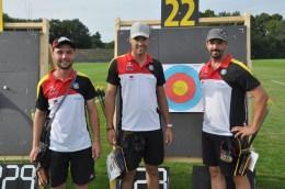Diese deutsche Compoundmannschaft gewann Bronze (v.re.): Marcel Trachsel, Henrik Hornung und Marcus Laube.