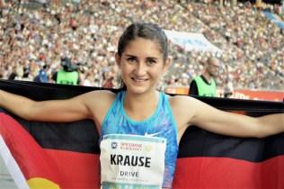 Gesa Felicitas Krause mit deutschem Rekord: Londons 3.000 m Hindernis-WM-Pechvogel in Berlin umjubeltes Glückskind.