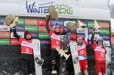 Siegerehrung der Frauen (v.l.): 2. Platz Alena Zavarzina (RUS), 1. Platz Selina Joerg (GER), 3. Platz Julie Zogg (SUI), 4. Platz Aleksandra Krol (POL).
