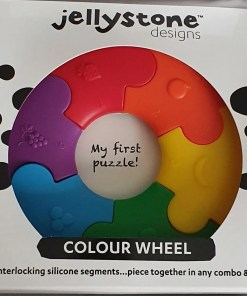 Colour wheel teething toy in a box