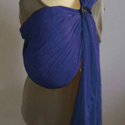 Navy blue water ringsling displayed on a mannequin