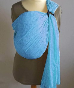 Sky blue water ringsling displayed on a mannequin