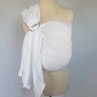 Melliapis ringsling on a mannequin in pure white with rainbow stitching