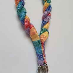Rainbow striped twisted fabric bracelet/handle with carabiner