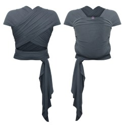 Front and rear photo of a grey stretchy wrap