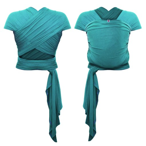 Front and rear photo of a teal stretchy wrap