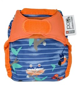 Stripy blue nappy with orange trim and bird print - lose Pop-in Newborn Nappy Twilight Garden
