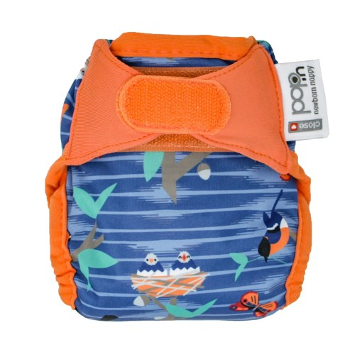 Stripy blue nappy with orange trim and bird print - lose Pop-in Newborn Nappy Twilight Garden