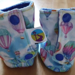 Rear of Pastel boots with hot air balloon design
