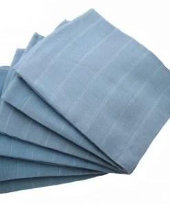 Blue 6-pack plain muslin squares