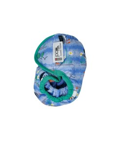 Side image of a Inside of a Close Pop-in Puffin Popper Nappy in blue with green trim