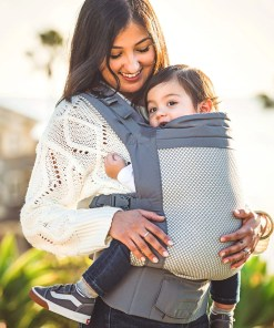 Woman and toddler smiling in a Beco COOL Grey Toddler sling