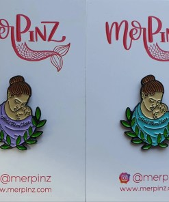 Lilac and Blue-Green babywearing enamel pins