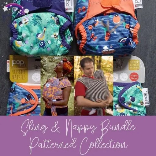 Patterned nappies and stretchy wraps