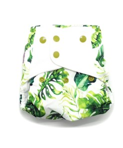 White nappy with green leaves