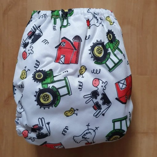 Rear of Farm print Littles & Bloomz newborn nappy
