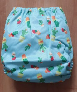 Rear view of Cactus print Littles & Bloomz newborn nappy