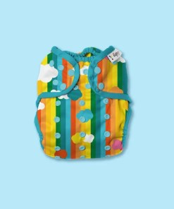 Hippynut nappy with vertical rainbow stripes and cloud print