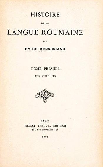 1901 Histoire De La Langue Roumaine