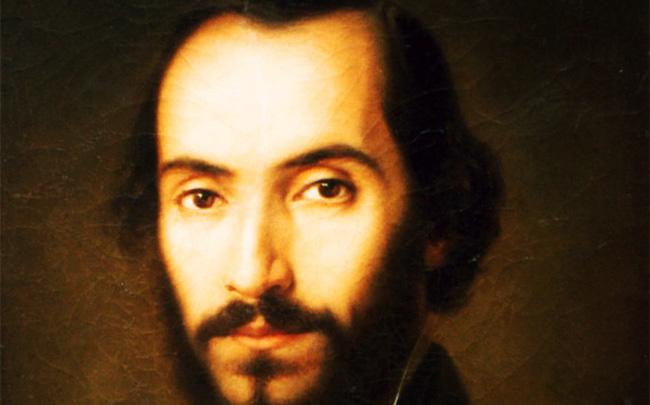 Nicolae Bălcescu. Portret de Gheorghe Tattarescu - detaliu